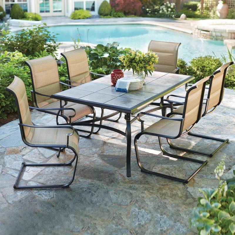 Hampton Bay Belleville 7 Piece Padded Sling Outdoor Dining Set 1 Ceramic Tile For The Table Are Broken Please Review The Photos Newport Liquidations Auction Flooring Home Decor Tools Lihgting And More