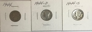 Three Mercury Dimes - 1944, 1944-D, & 1944-S