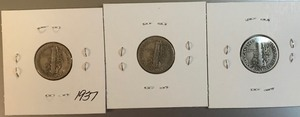 Three Mercury Dimes - 1937, 1938, & 1939