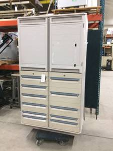 MSRP $8000 STARSYS Double-Wide Two-Bay Supply Cabinet 2 DOOR STORAGE LOCKER 11 DRAWER LATEX FREE ANTI MICROBIAL PROTECTION WITHIN GUARANTEED NOT TO DENT CHIP RUST FLAKE CORRODE -LOCKING NO KEY!