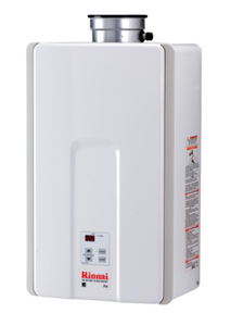 Brand New Rinnai Tankless Water Heater High Efficiency 9.8 GPM Residential 199,000 BTU Natural Gas Interior