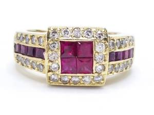 Spectacular Natural Ruby and Diamond Estate Ring in Heavy 18k Yellow Gold - $9,400 [VIDEO]