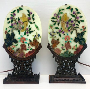 Pair of Antique Oriental Carved  Celadon Jade & Stone Oval Lighted Table Screens