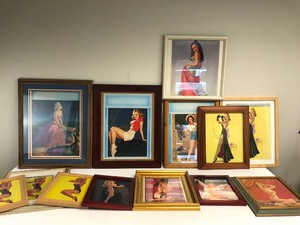 Large Collection of Original 1940's Era Framed Pinup Prints