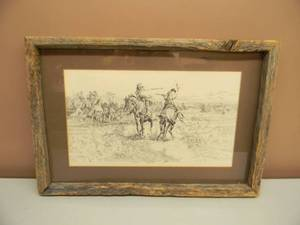 "VINTAGE 1922 CHARLES RUSSELL ART ON CANVAS - Kit Carson Horseback Duel - PROFESSIONALLY FRAMED WITH ANTIQUE BARN WOOD! - APPROX 21"" BY 15"" - GREAT PIECE! - SEE PICTURES!"