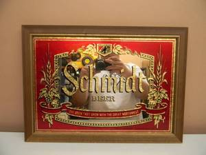 "VINTAGE SCHMIDT BEER BAR SIGN / MIRROR ""THE BREW THAT GREW WITH THE GREAT NORTHWEST""  - NICE! - HARD TO FIND! - APPROX 20"" BY 15"" - SEE PICTURES!"