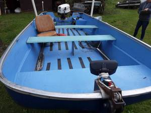 1969 Shell Lake 15 Foot Boat With 25 HP Johnson Outboard Motor & 1969 Turc Trailer