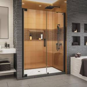 DreamLine Elegance-LS 57-3/4 in. to 59-3/4 in. W x 72 in. H Frameless Pivot Shower Door in Satin Black Retail $1000
