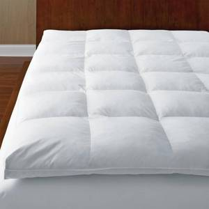 The Company Store Ultimate Baffled Square 4 in. Queen Down Featherbed Mattress Topper, FA30-Q-WHITE - NEW!