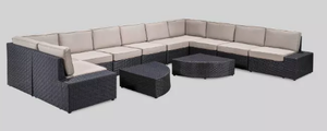 New Santa Cruz 12pc Wicker Sofa Set - Christopher Knight Home -No Cushions-