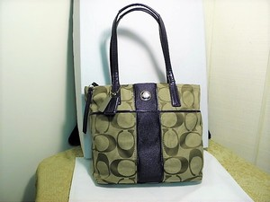 Authentic Coach Signature Stripe Tote Khaki and Purple