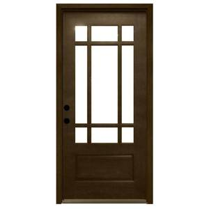 Steves & Sons 36 in. x 80 in. Craftsman 9 Lite Stained Mahogany Wood Prehung Front Door, M3109-6-HY-MJ-4RH - NEW, EXCELLENT CONDITION!
