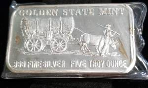 5 TROY OZ. .999 FINE SILVER BAR COVERED WAGON BY GSM