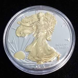 2019 AMERICAN SILVER EAGLE 1 TROY OZ. .999 FINE SILVER GOLD PLATED IN AIRTITE