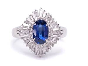 High Grade 1.61 Carat Natural Royal Blue Sapphire and 1 Carat Diamond Estate Ring in Platinum; $19,500