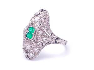 Antique Natural Colombian Emerald and Diamond Estate Ring in Platinum Filigree; $9000