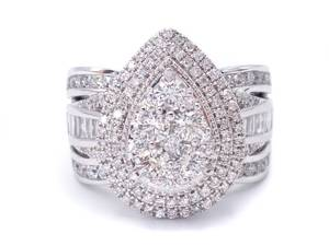 Stunning Brand New 3 Carat Pear Shaped Diamond Ring in 14k White Gold; $12999