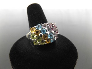 .925 Sterling Silver Multi Colored Crystal Ring Size 11