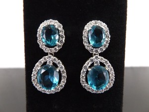 .925 Sterling Silver Faceted Topaz Crystal Post Earrings