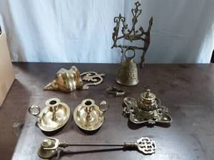 Collection Of Brass Large Church Monastery Bell, Incense Burner (England), Candle Holders, Wall Vase