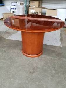 Wood Round Pedestal Conference Table
