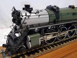 "O scale Great Northern S-2 4-8-4 Steam Loco GN #2584 Painted Brass 30"" long"