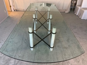 Large Beautiful Glass Top Dining Room Table