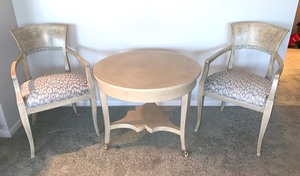 Round William Switzer Table with a Set of Two Decorative Chairs