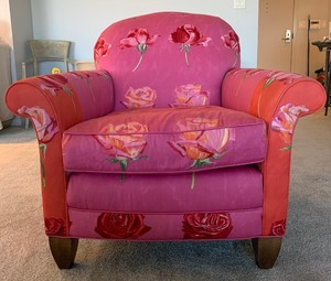 Beautiful Miles Talbott Two Tone Pink & Red Floral Upholstered Chair