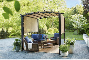 HAMPTON BAY 10 ft. x 10 ft. Steel and Aluminum Outdoor Patio Arched Pergola with Sliding Canopy