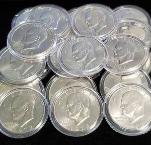 GROUP OF 22 CLAD EISENHOWER DOLLARS IN AIRTITES
