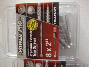 Power Pro #8 x 2-in Stainless Steel Trim Interior/Exterior Trim Screws (40-Count) 3-Packs Retails $19.96 Each