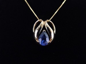 .925 Sterling Silver Pear Cut Tanzanite Crystal Vermeil Slide Pendant Necklace