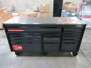Husky Heavy-Duty 72 in. W x 24 in. D 15-Drawer Tool Chest Mobile Workbench w/ Stainless Steel Top and Dual Locks, Matte Black H72MWC15DL