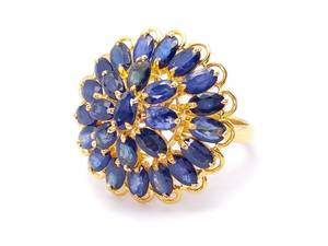 Beautiful Natural ~6.5 Carat Sapphire Cluster Estate Ring in 18k Yellow Gold; $7250