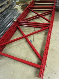 MECALUX STEEL PALLET RACKING, 10' TALL FRAMES  WITH 8' CROSSBEAMS