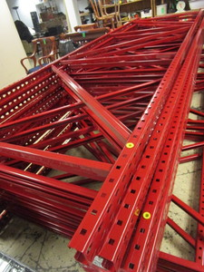 MECALUX STEEL PALLET RACKING, 14' TALL FRAMES  WITH 10' CROSSBEAMS