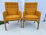 Pair Vintage Upholstered Mustard Yellow Arm Chairs