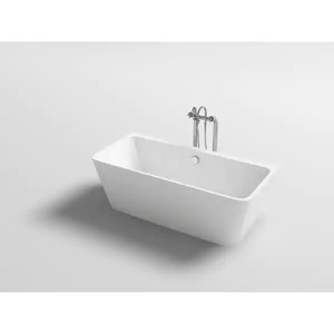 Mach Bath Iseo Modern Rectangular Shaped Acrylic Freestanding Bathtub with Center Drain and Interior Overflow Drain - NEW!