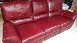 Ox Blood Red Leather Recliner Couch by El Ray