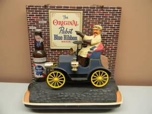 "Vintage 1960 ""The Original"" Pabst Blue Ribbon Beer Old Jalopy Car Motion Sign Display - Nice! - Works! - Americana! - SEE PICTURES!"