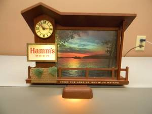 VINTAGE 1960s - Hamm's Beer Dawn to Dusk Sunrise Sunset Clock Lighted Sign - LIGHTS UP CLOCK WORKS! - ANOTHER GREAT HAMM'S PIECE! - SEE PICTURES!