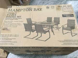 HAMPTON BAY Crestridge 7-Piece Steel Padded Sling Outdoor Patio Dining Set in Putty Taupe! SEE PICS!
