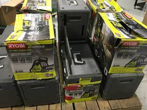 LOT WITH 13 RYOBI 14 in. 37cc 2-Cycle Gas Chainsaws! NOT CHECKED! SEE PICS!