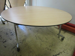 ROLLING/FOLDING OFFICE TABLE, WITH CHROME LEGS