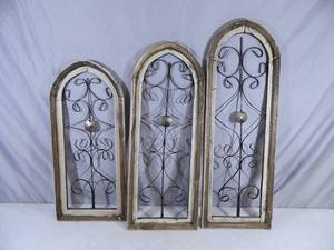 3 New Recycled Handmade Wooden Decorative Shabby Chic Windows