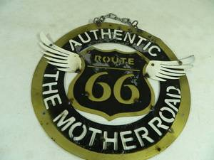 New Handmade Recycled Metal Garden Art Route 66 Sign