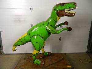 HUGE Handmade Recycled Metal Dinosaur