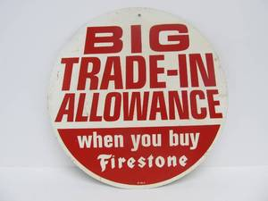 Old Vintage Round Metal Gas/Service Station FIRESTONE Tires Advertising Sign