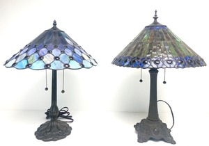 2 Nice Tiffany Style Blue Stained Glass Table Lamps